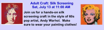 Adult Craft: Silk Screening @ RSF Library