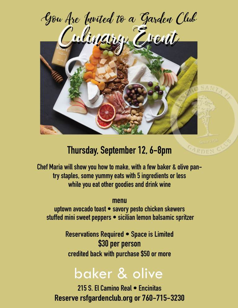 Garden Club Culinary Event @ Baker & Olive