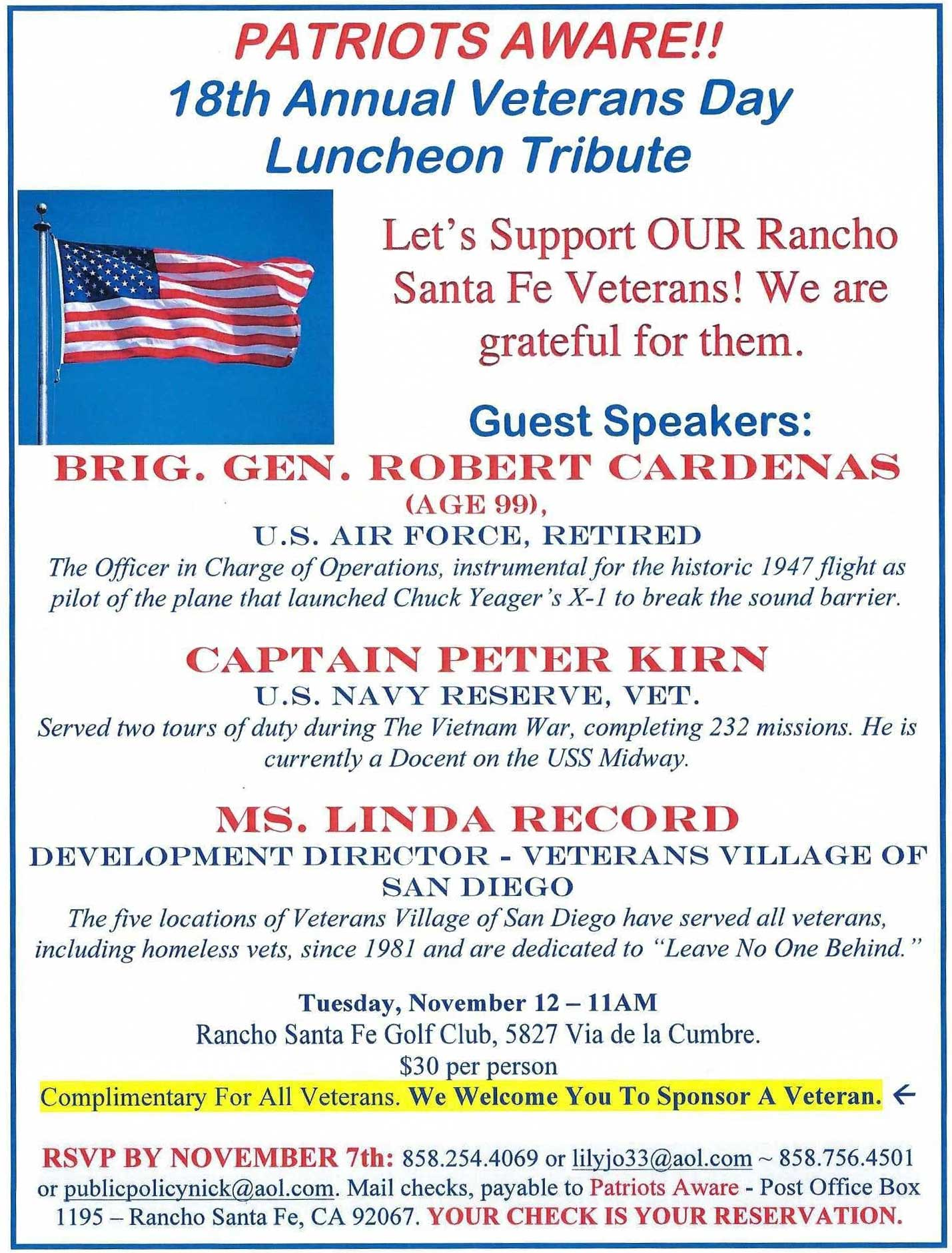 Veterans Day Luncheon Tribute @ RSF Golf Club